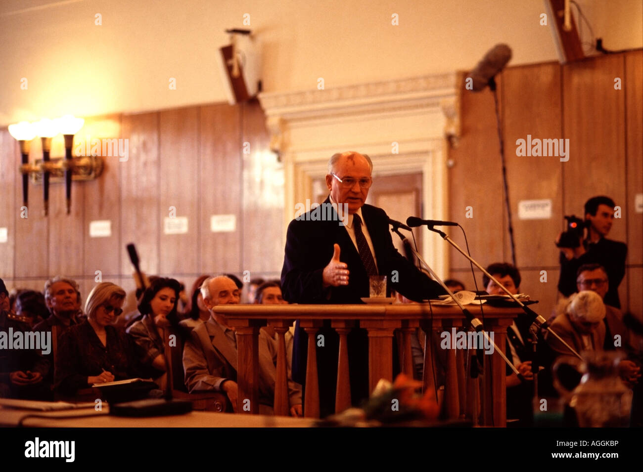 Former President of the Soviet Union Mikhail Gorbachev  testifies in Moscow during trial of the leaders of the 1991 - Stock Image