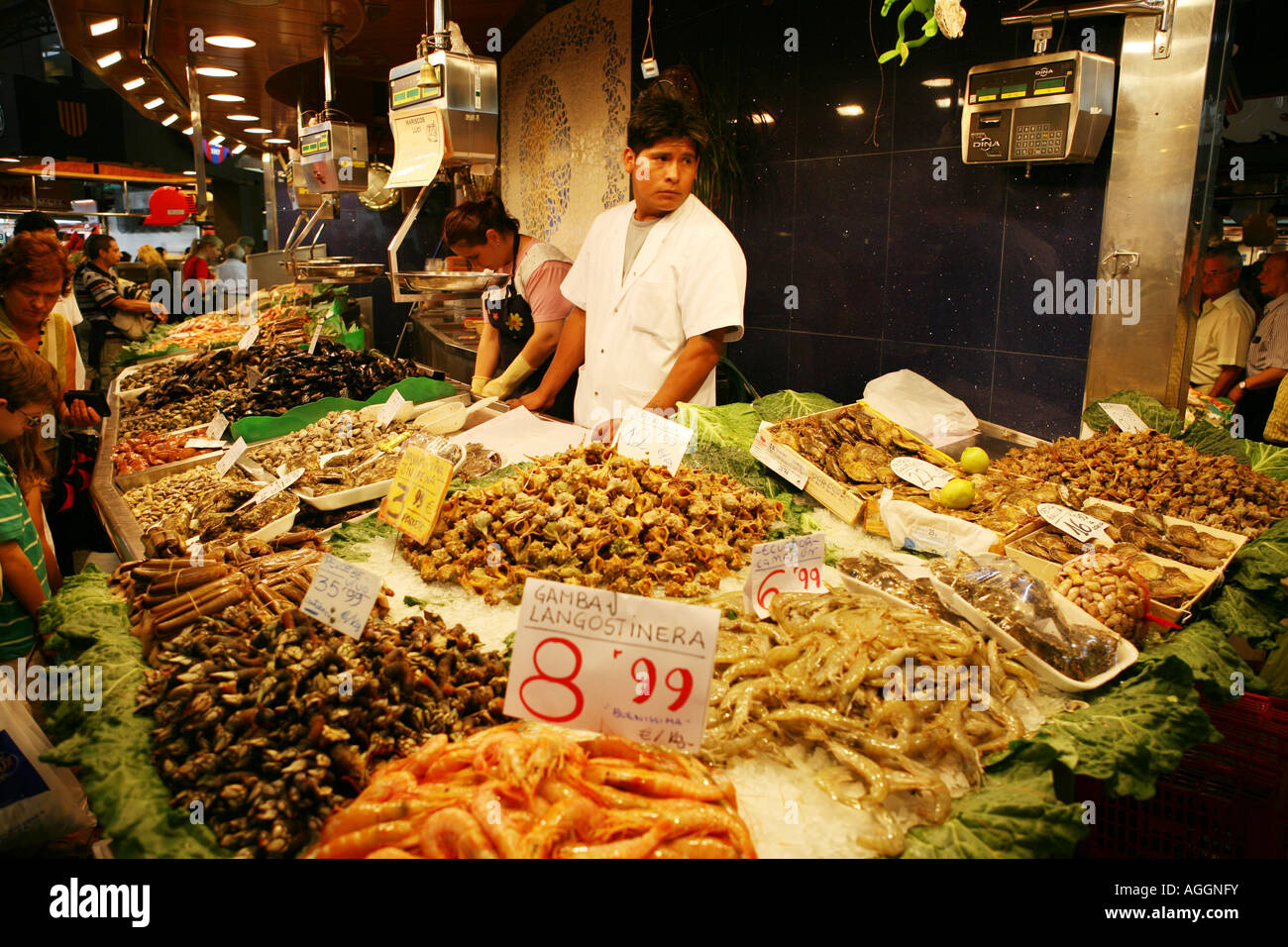 Seafood market in Barcelona, Spain - Stock Image