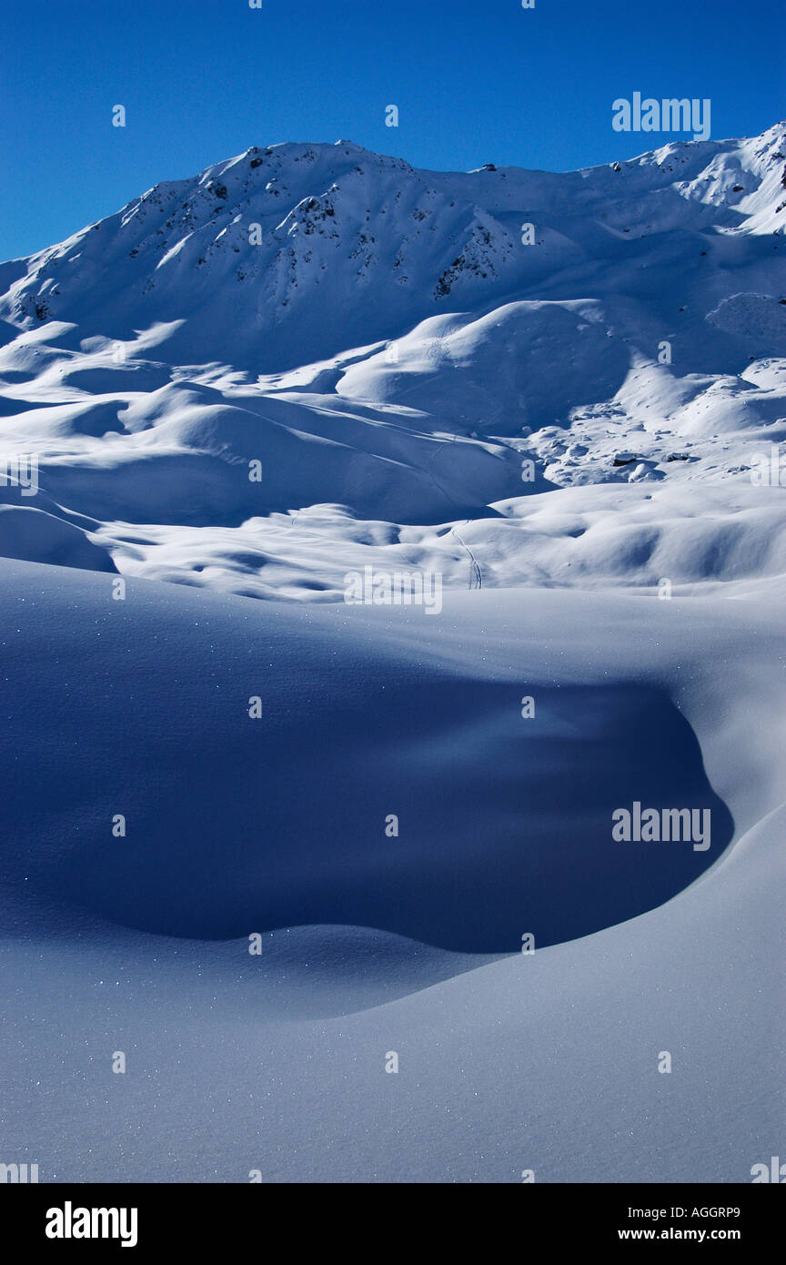 glistening snowflakes, Val Thorens, French Alps, France - Stock Image