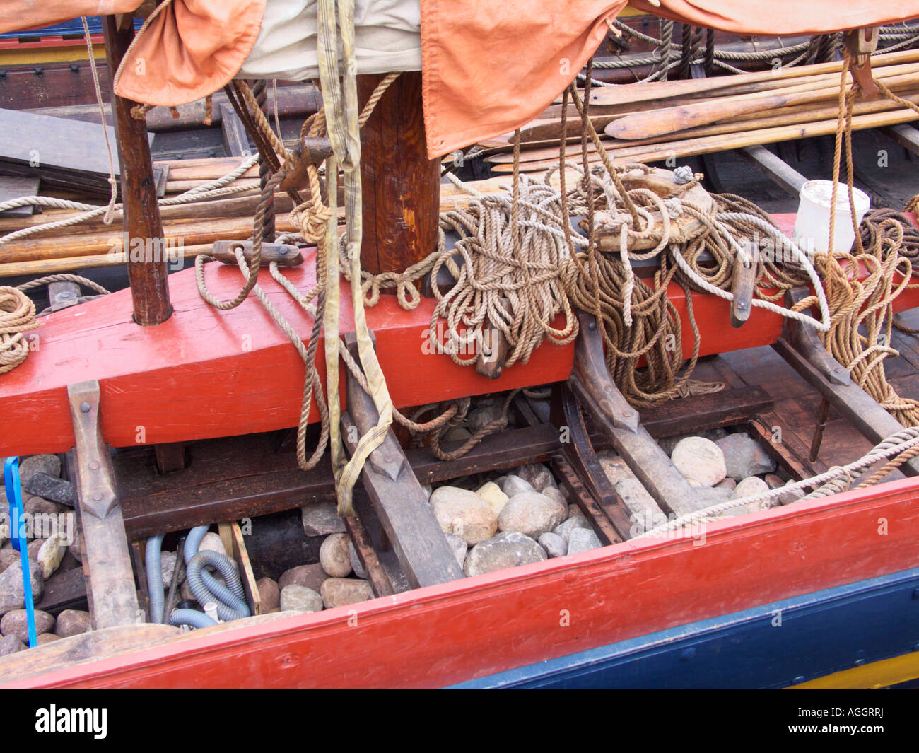 Stone ballast in the Glendalough Sea Stallion Viking Ship at the Viking Ship Museum Roskilde North Zealand Denmark - Stock Image