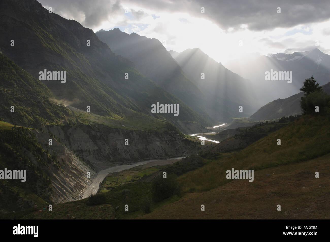 Mountain scenery Keylong Northern India - Stock Image