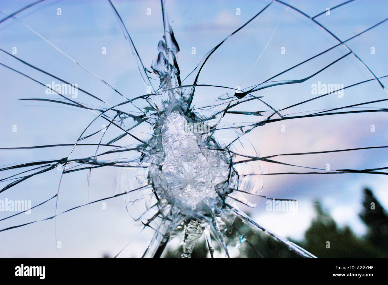 cracked glass shield - Stock Image