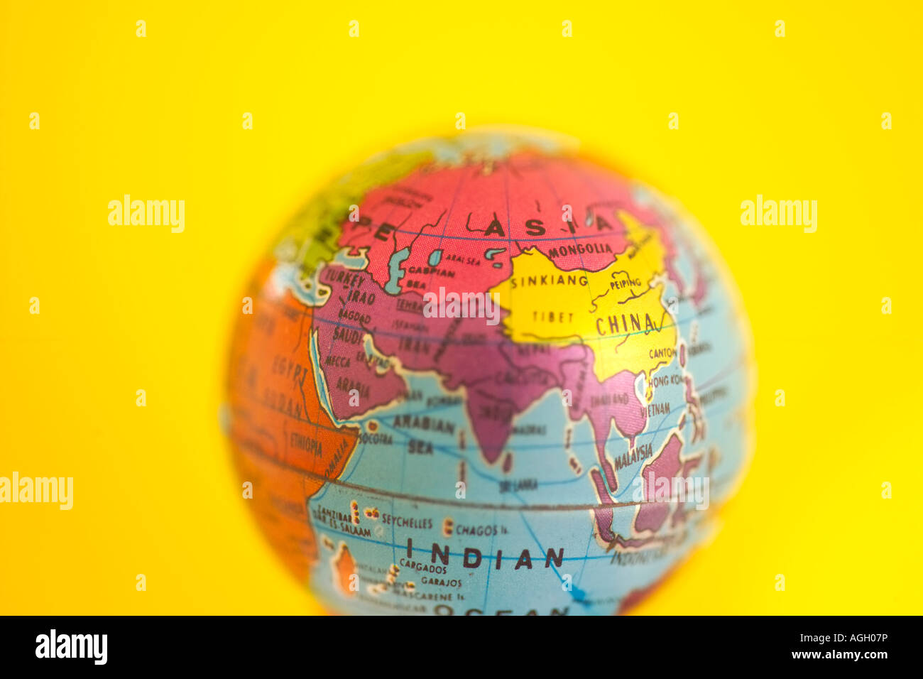 Political Northern Hemisphere Map. KPNDRY (RF). Miniature Globe With On  Yellow Background   Stock Image