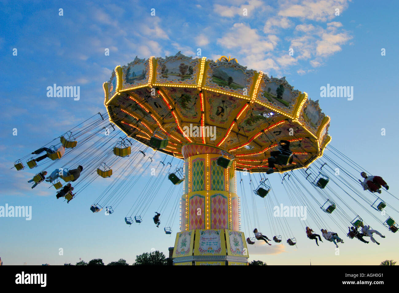 attraction/carousel in amusement park, Gröna Lund, Stockholm, Sweden - Stock Image
