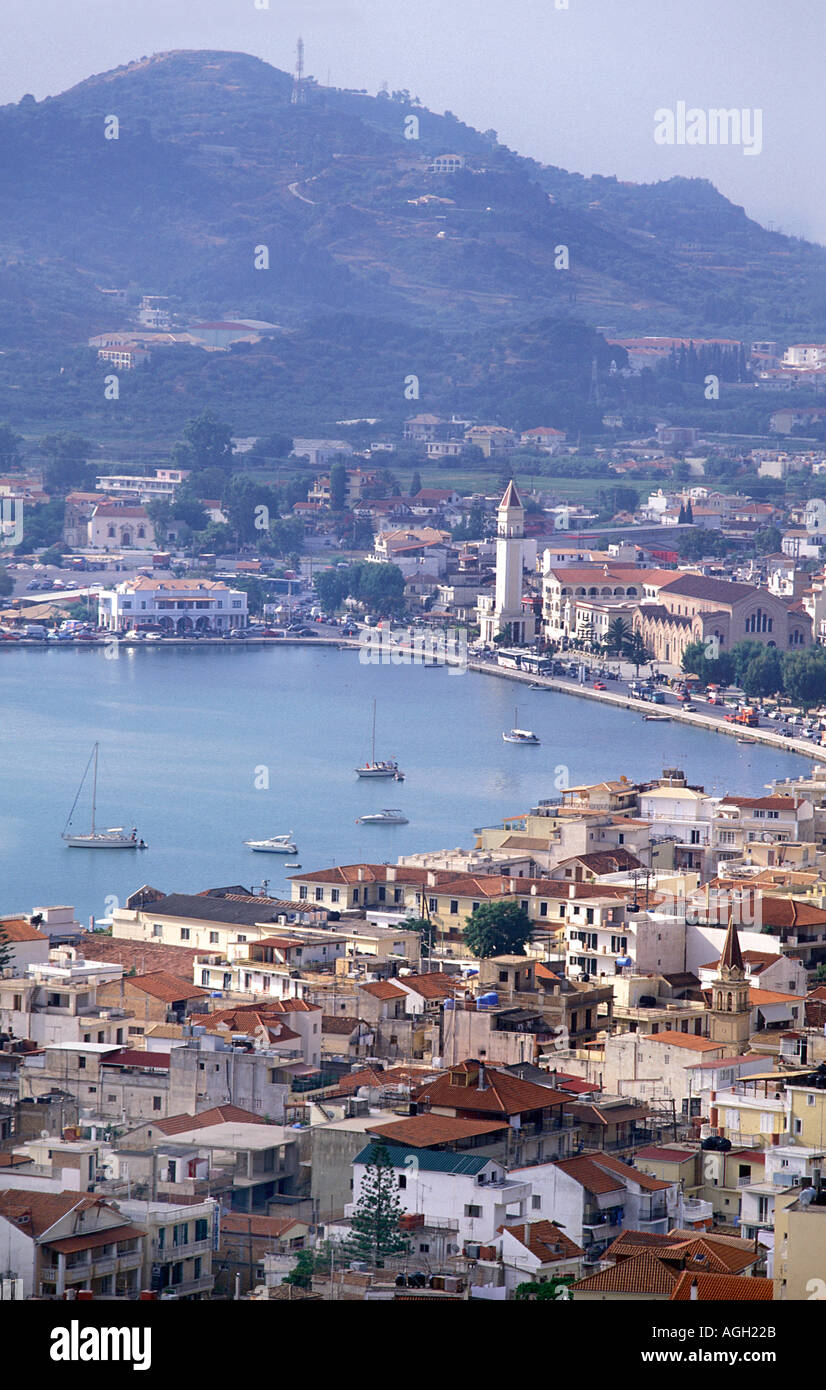 View of Zakynthos town from the lookout of Bochali Panoramic views Mediterranean sea Ionian Islands Greece Europe - Stock Image