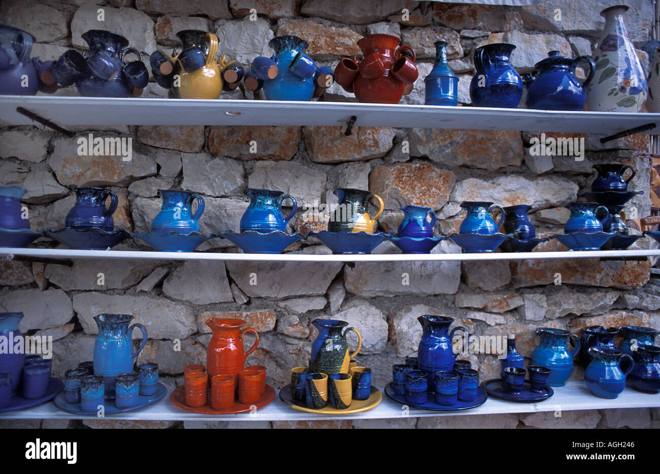 Local ceramics pottery for sale at Volimes a place famous for its handicrafts Zakynthos island Ionian Islands Greece - Stock Image