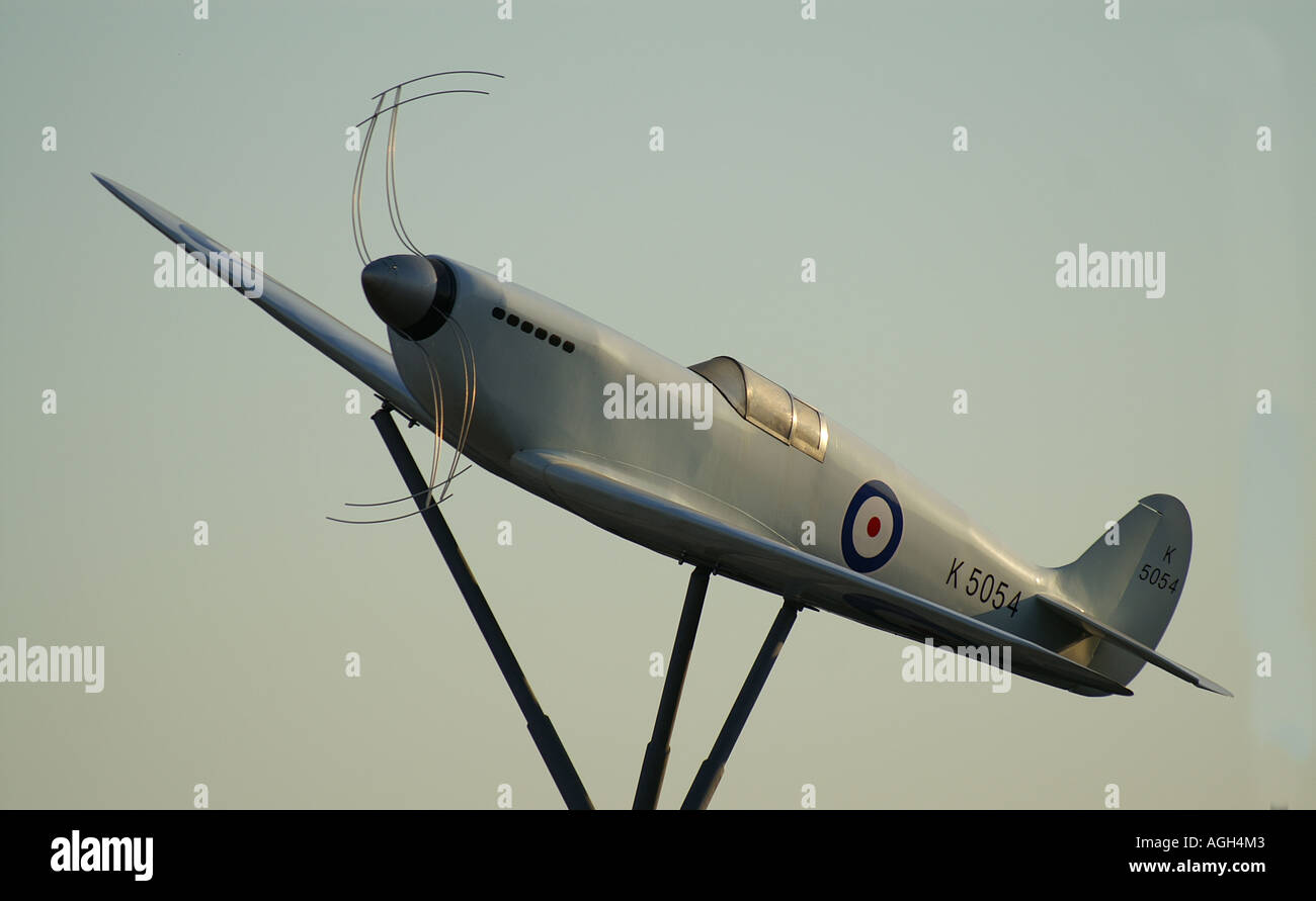 Spitfire commemoration at Southampton Airport Hampshire - Stock Image