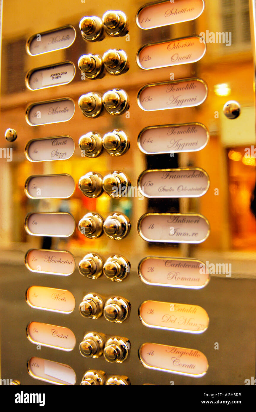 exclusive house entry phone in gold, Rome, Italy - Stock Image