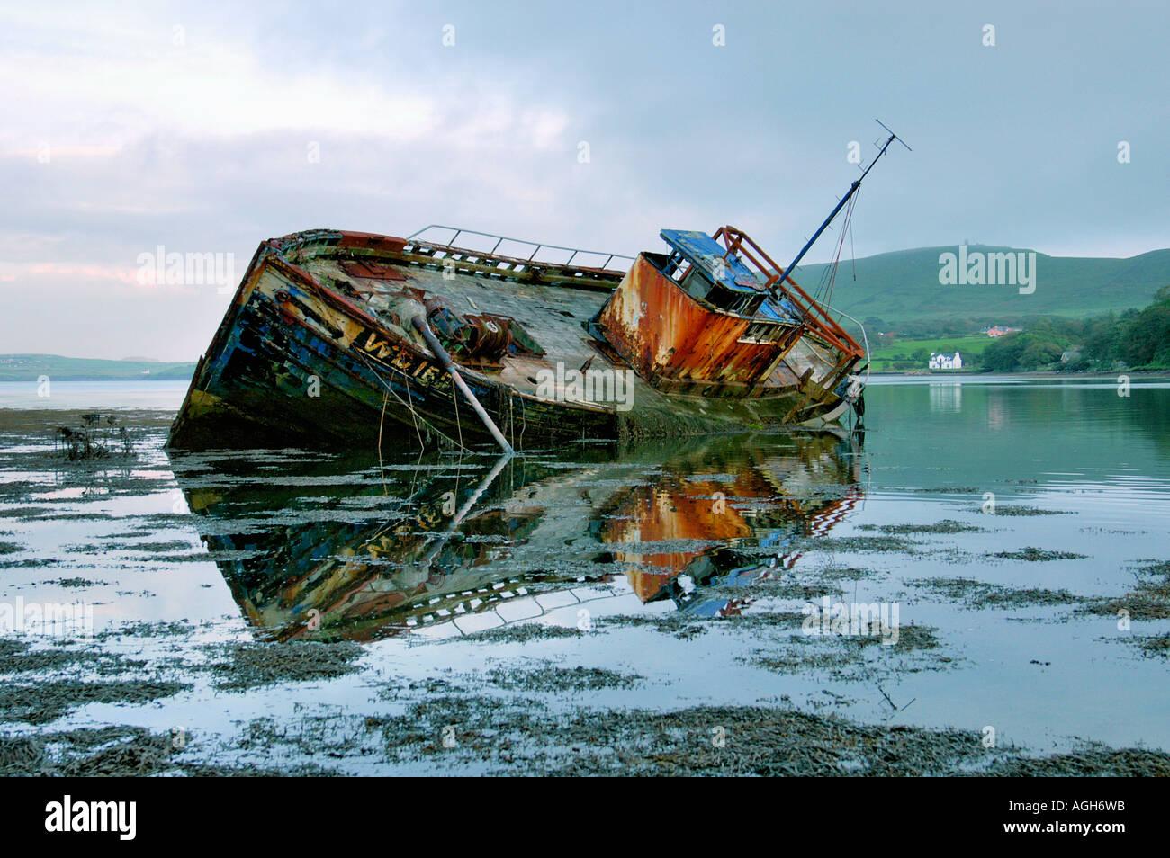 old shipwreck, West Coast, Ireland - Stock Image