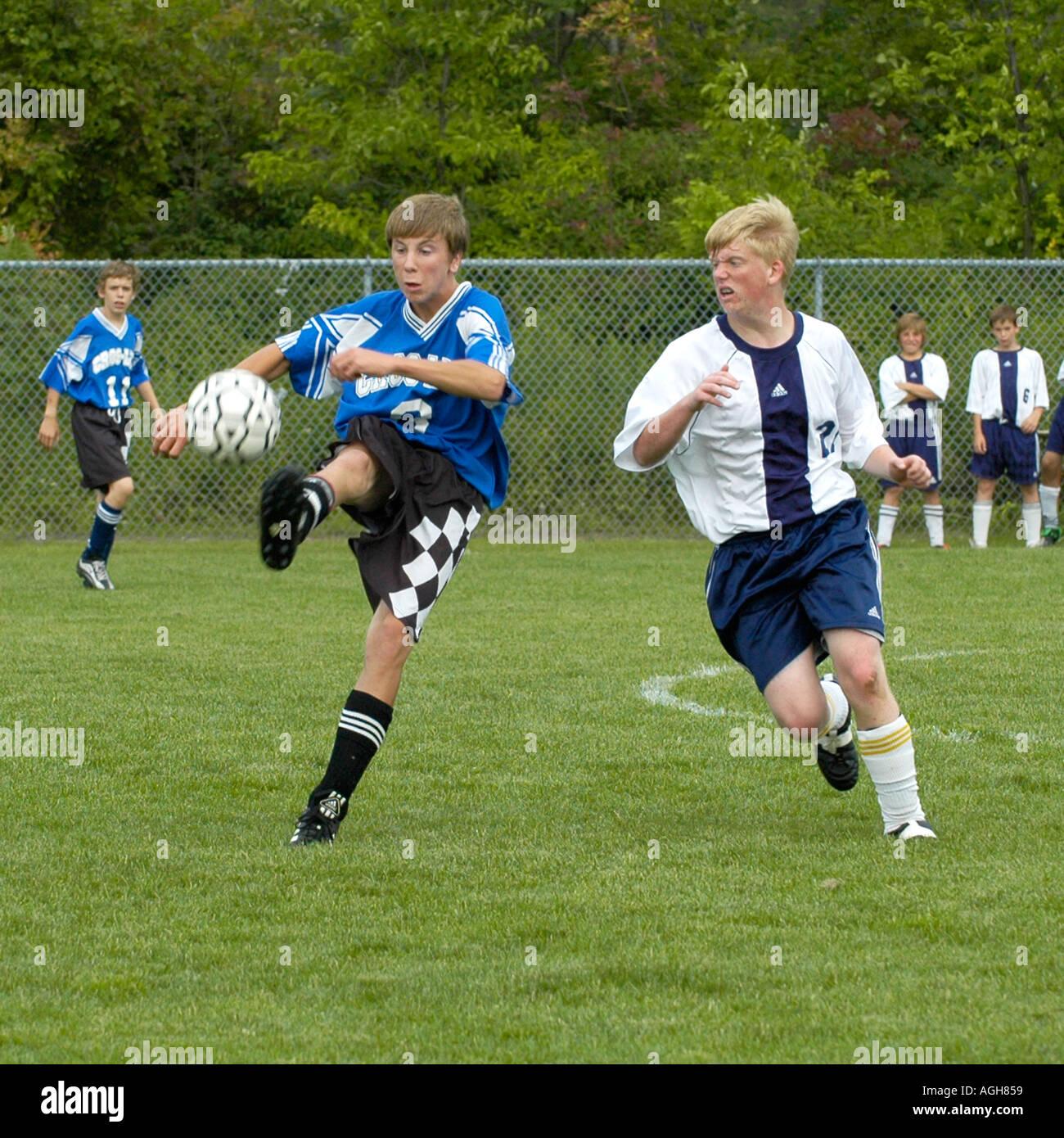 High School soccer futbol football action Port Huron Michigan - Stock Image