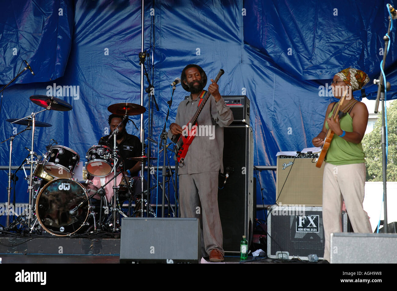 Rastafarian group playing concert Reggae  at Lambeth Country Fair in brockwell Park South London. - Stock Image