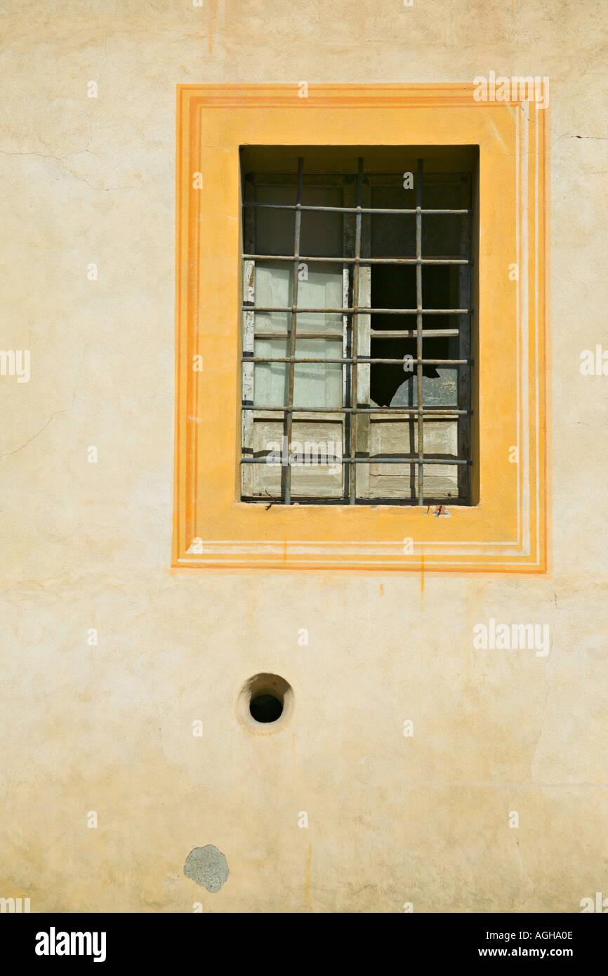 Framed window of Meseo Via Folgore Da San Gimignano, San Gimignano, Tuscany, Italy Stock Photo