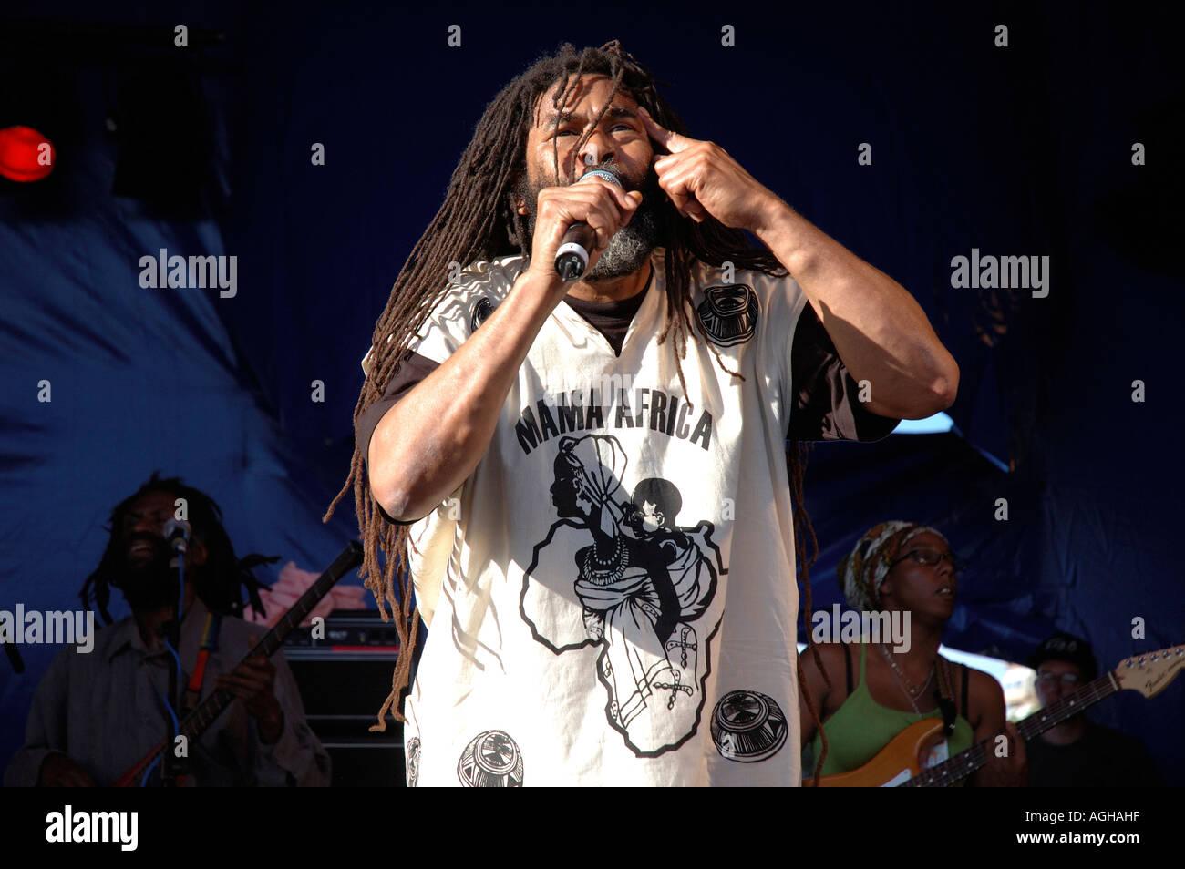 Rastafarian musician playing concert Reggae  at Lambeth Country Fair in brockwell Park South London. - Stock Image