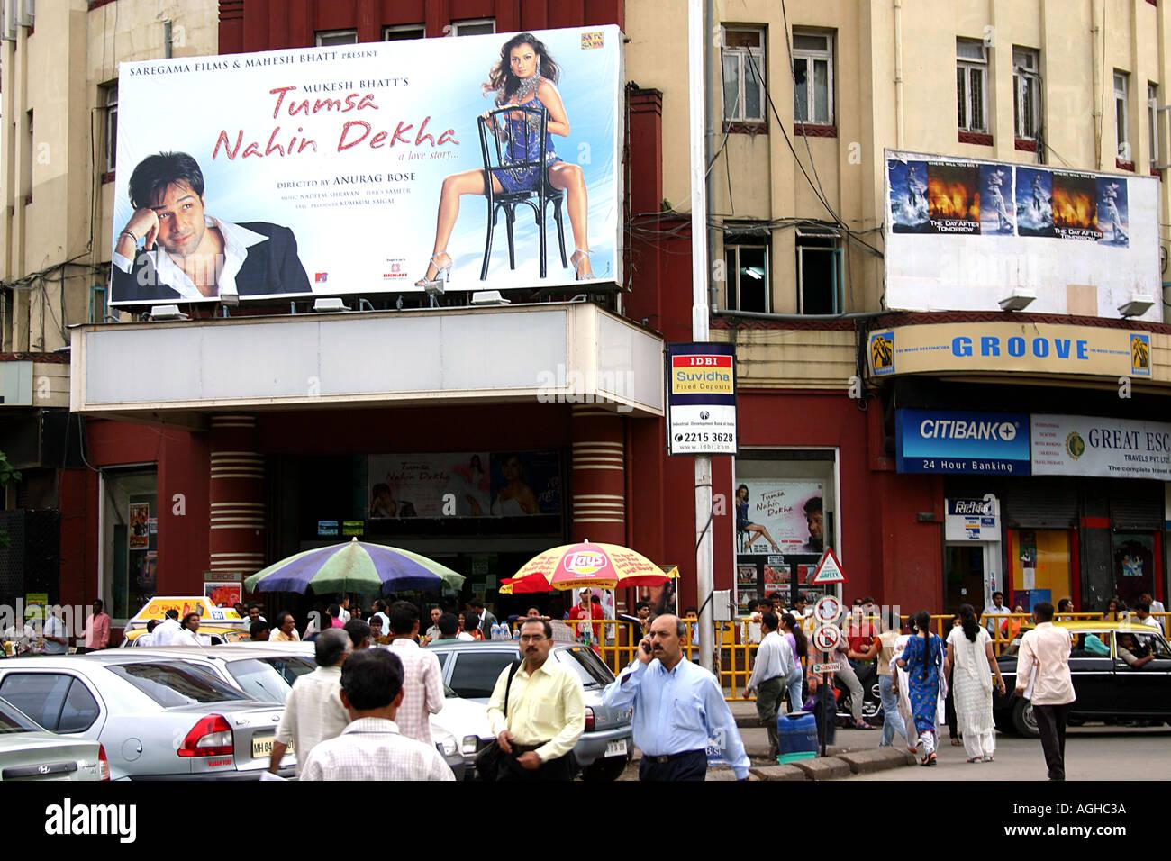 RSC91106 hoarding poster on eros cinema building at churchgate bombay mumbai india - Stock Image
