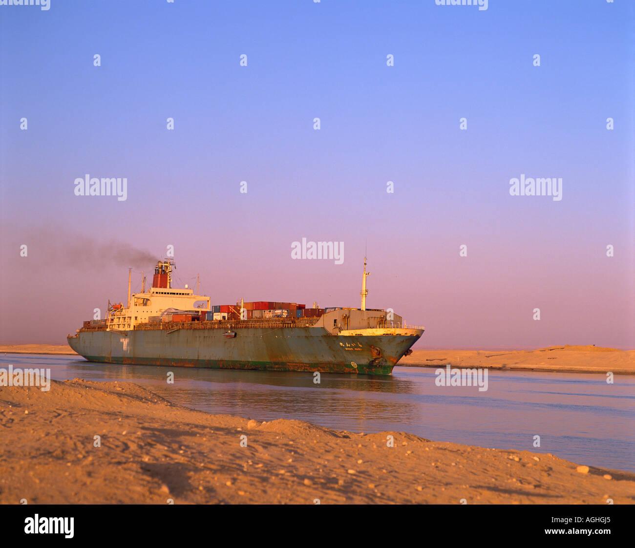 Egypt Suez Canal Cargo Ship Stock Photo