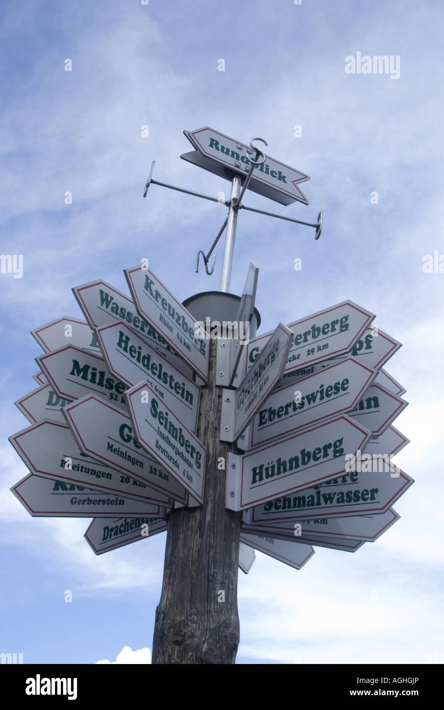 signboards to all directions, Germany, Thueringen, Rennsteig - Stock Image