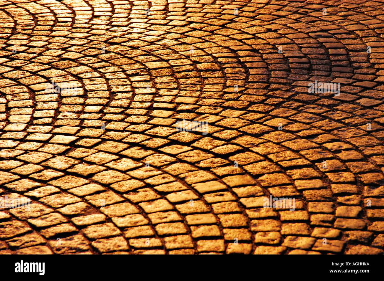 cobblestoned street, Stockholm, Sweden - Stock Image