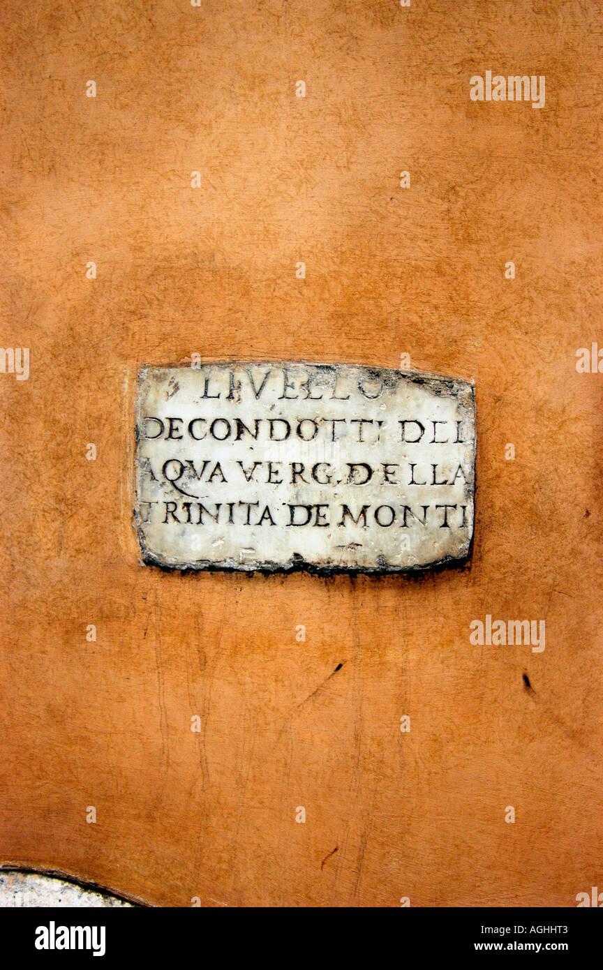 ancient roman inscription on wall, Rome, Italy - Stock Image