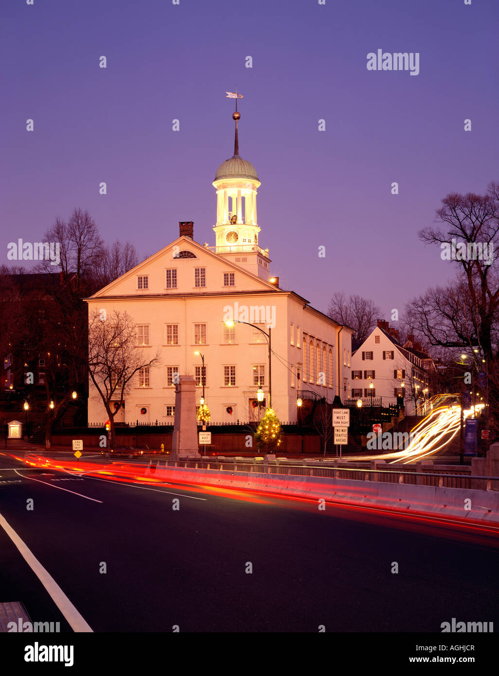 Moravian Community Church Lit For Christmas, Bethlehem, Northampton County, Pennsylvania, USA - Stock Image