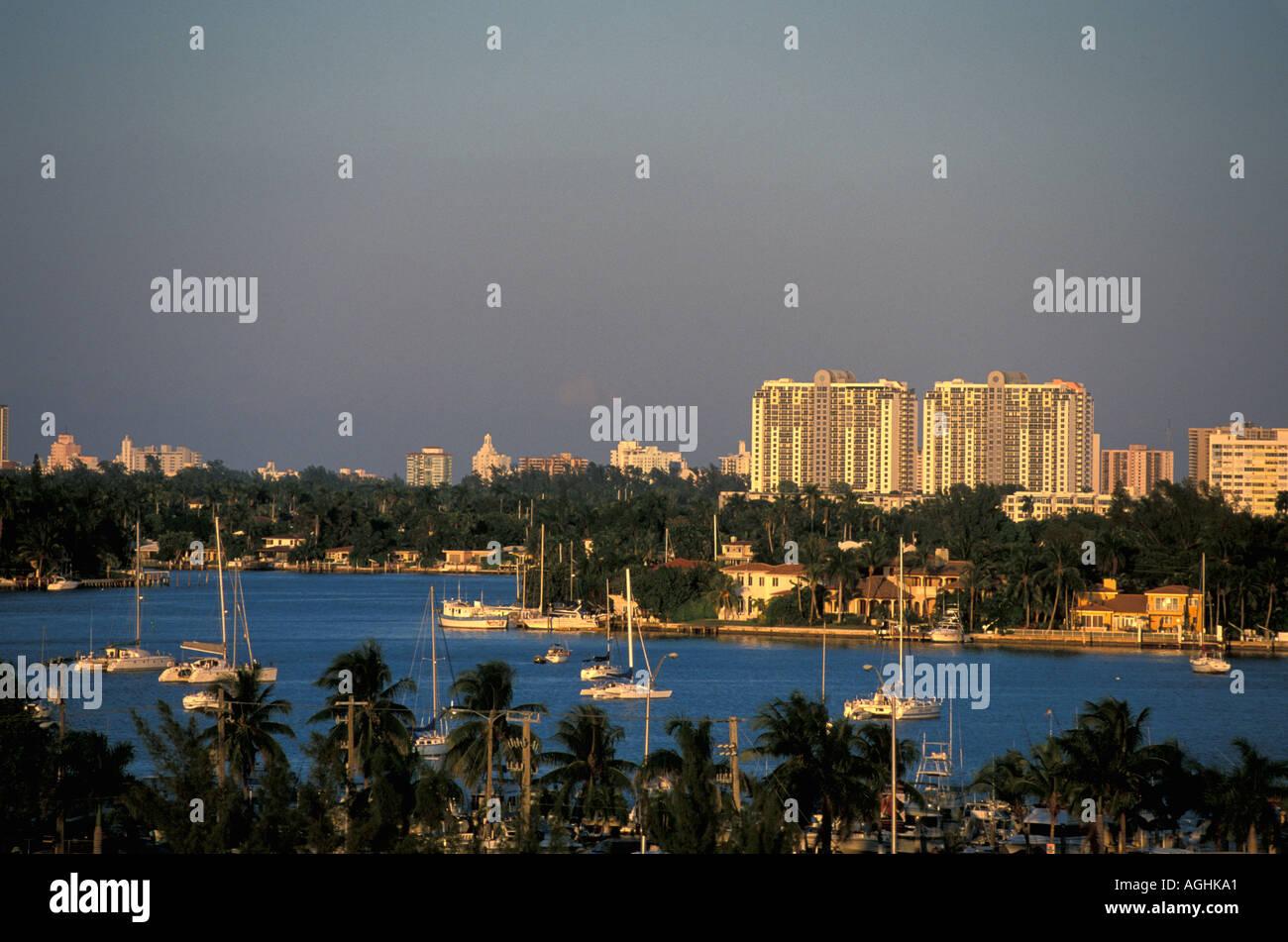 Miami Beach Florida FL sailboats coconut palm trees horizontal late afternoon - Stock Image