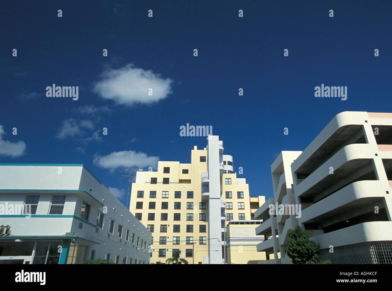 Miami Florida FL South Beach Classic Art Deco Architecture Ocean Drive skyline - Stock Image