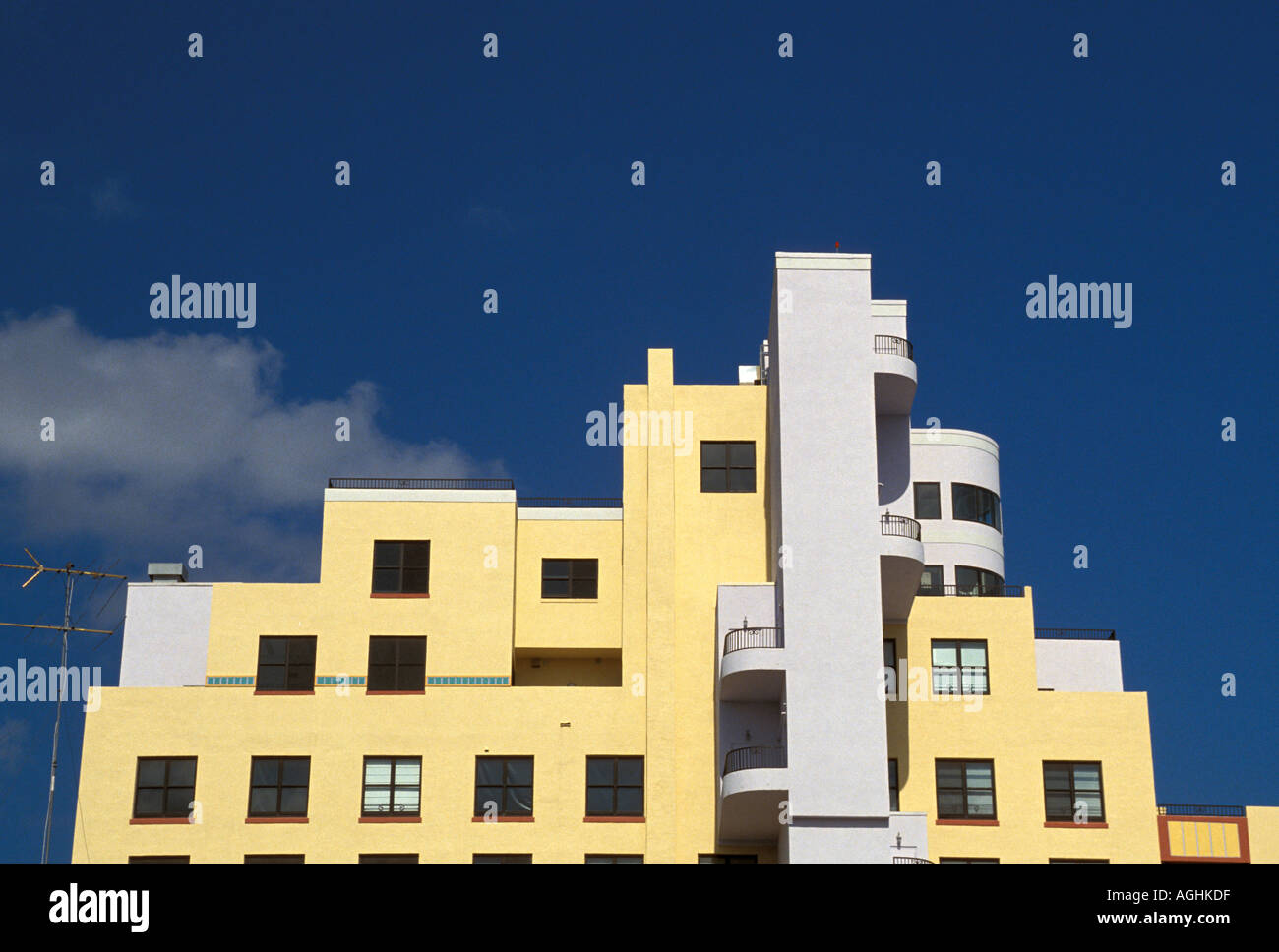 Miami Florida FL South Beach Classic Art Deco Architecture Ocean Drive yellow and white building - Stock Image
