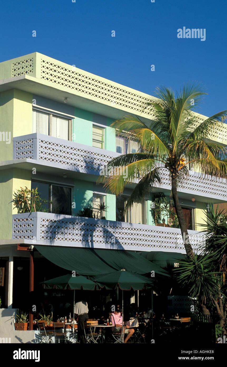 Miami Florida FL South Beach Classic Art Deco Architecture Ocean Drive yellow purple and green building - Stock Image