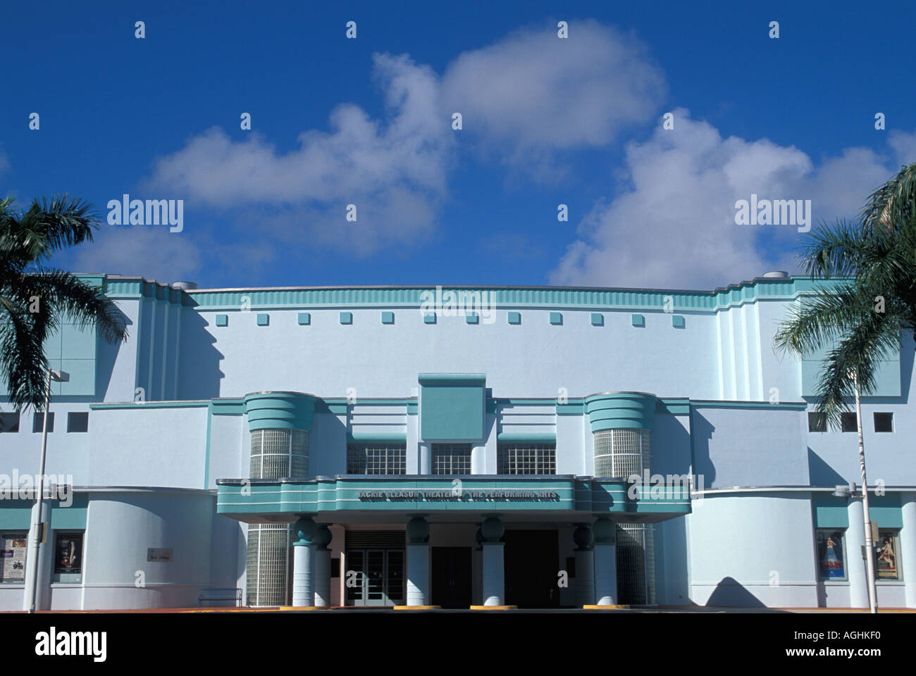 Miami Florida FL South Beach Classic Art Deco Architecture Jackie Gleason Theater of the Performing Arts - Stock Image
