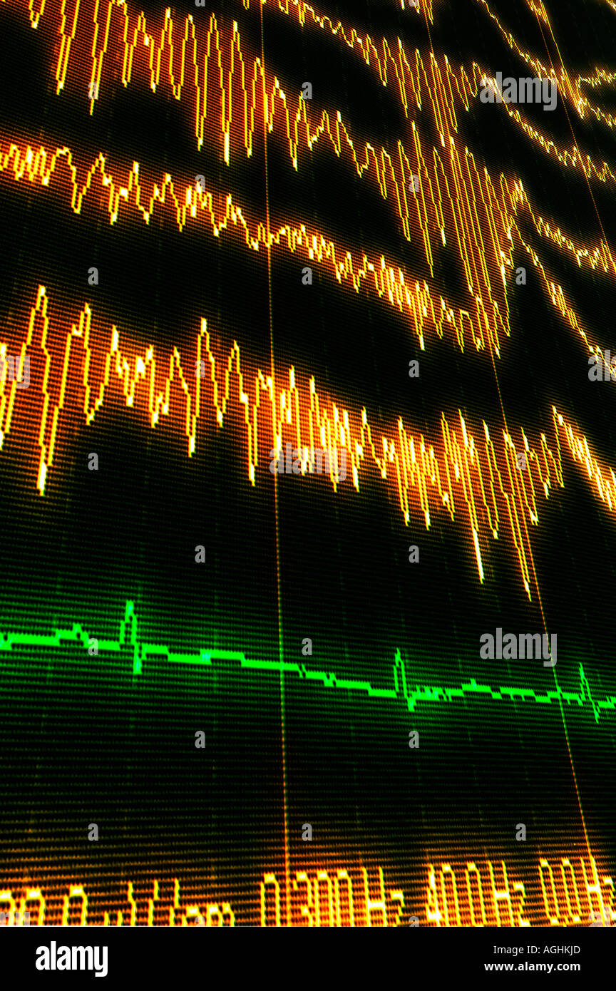 brain waves (alfa, beta, gamma) showing REM-sleep (dreaming) - Stock Image
