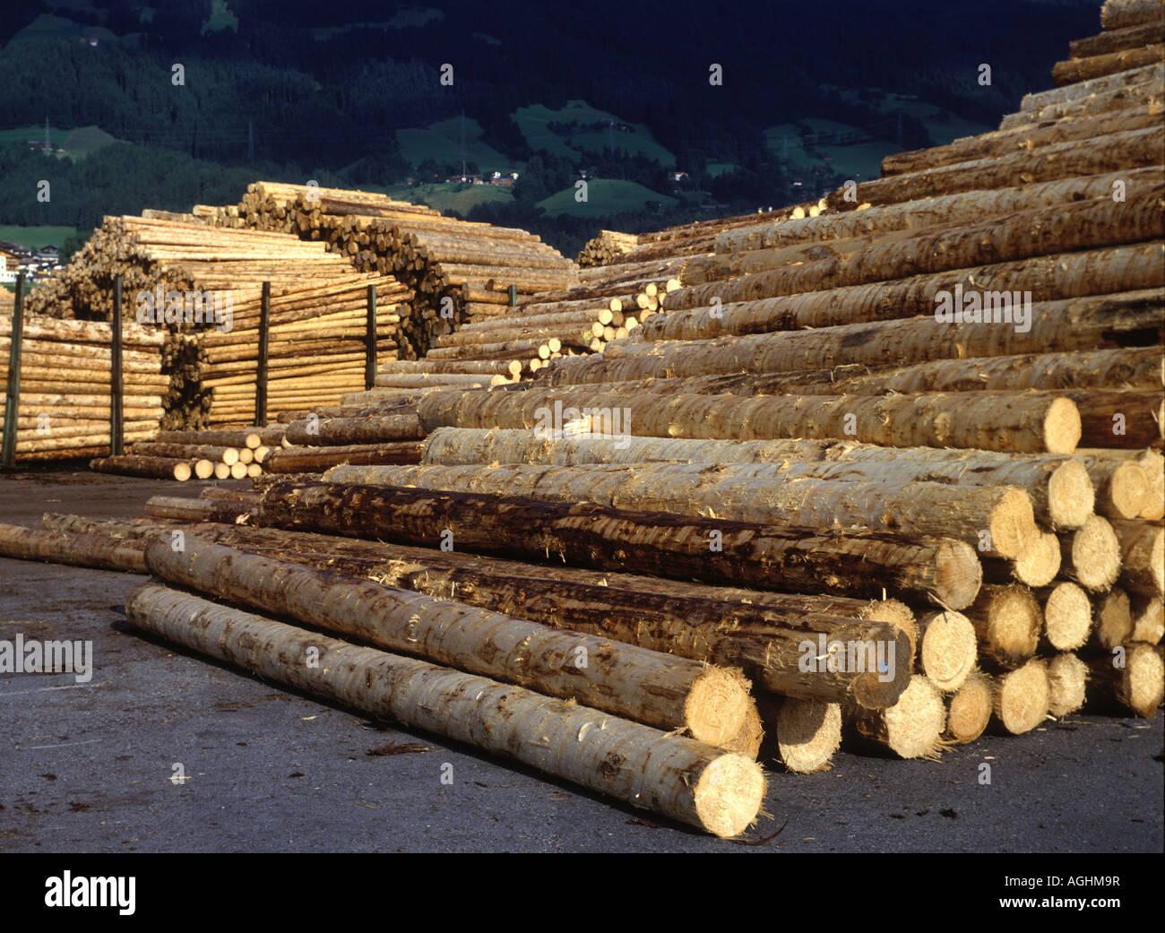 Baumstaemme liegen am Holzlagerplatz eines Saegewerks stack of wood at a saw mill in Austria Stock Photo