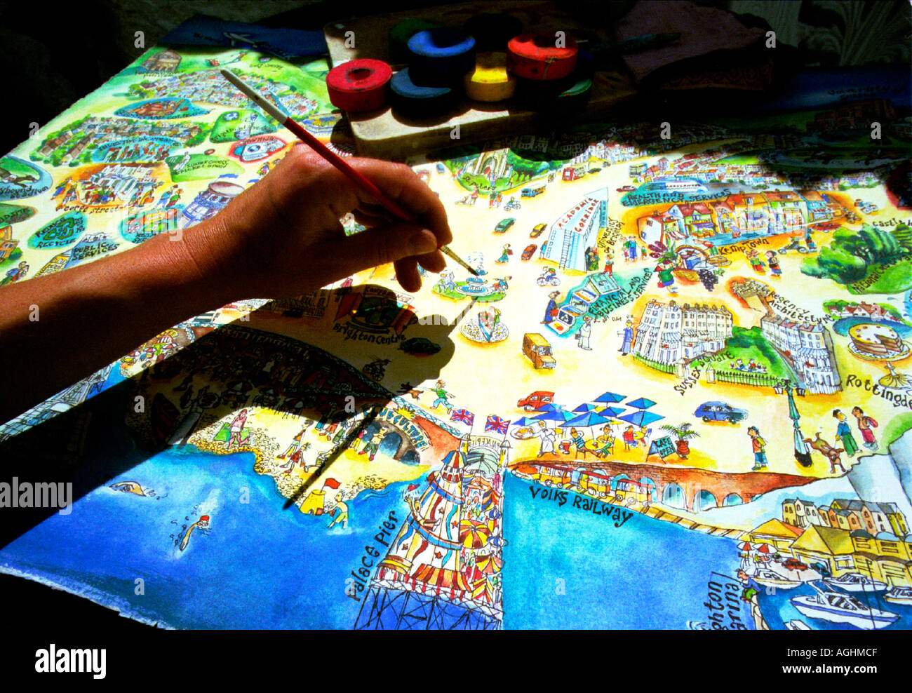 Mapping the future An artists vision of a new city from the merger of two towns - Stock Image