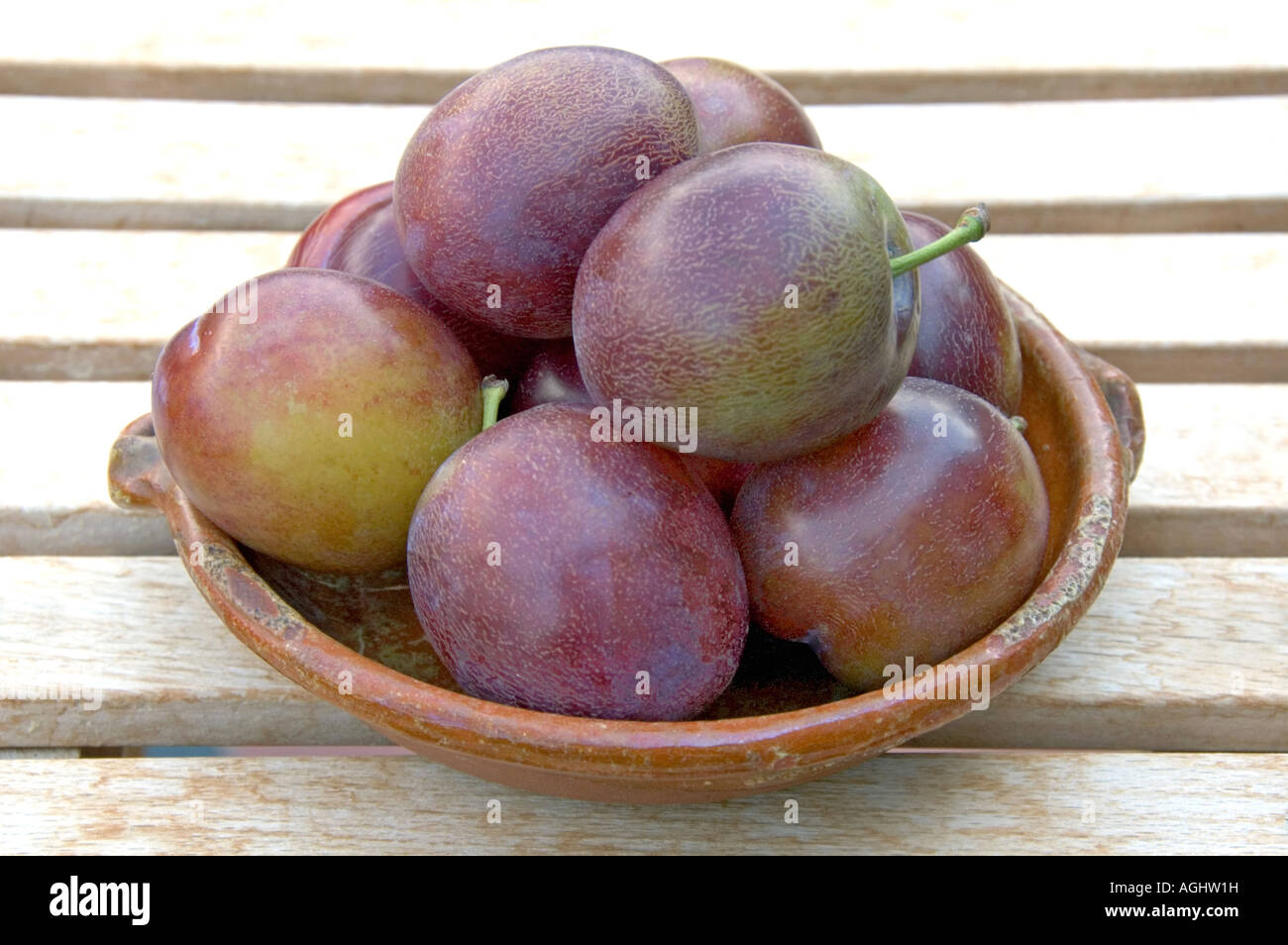 Marjorie s Seedling plums in bowl - Stock Image