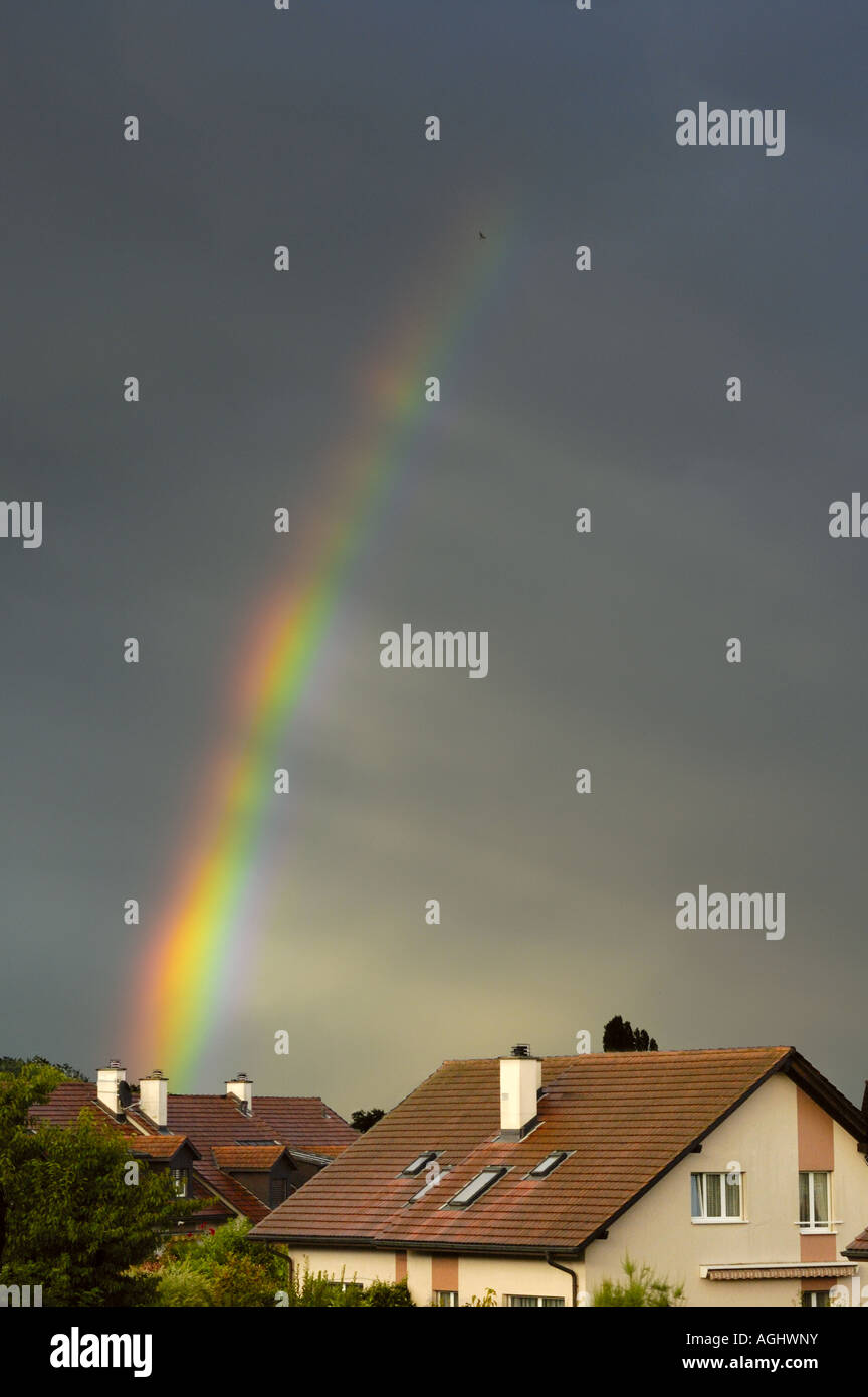 Rainbow, with spokes - Stock Image