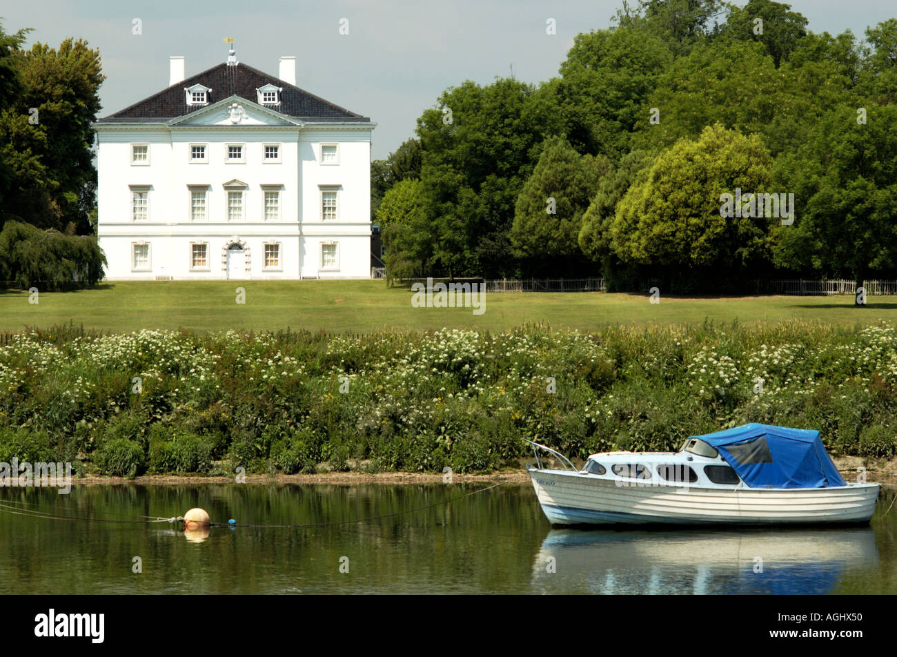 Marble Hill House and a boat Richmond Rd Twickenham, Surrey, UK Stock Photo