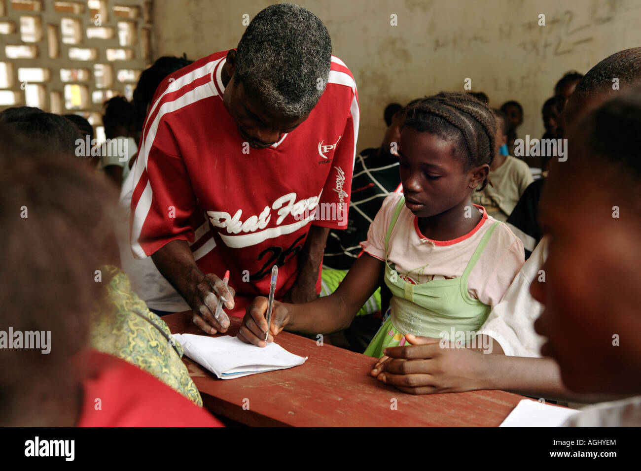 Students on the Accelerated Learning Programme at Zeah Town school which is supported by 'Save the Children' - Stock Image