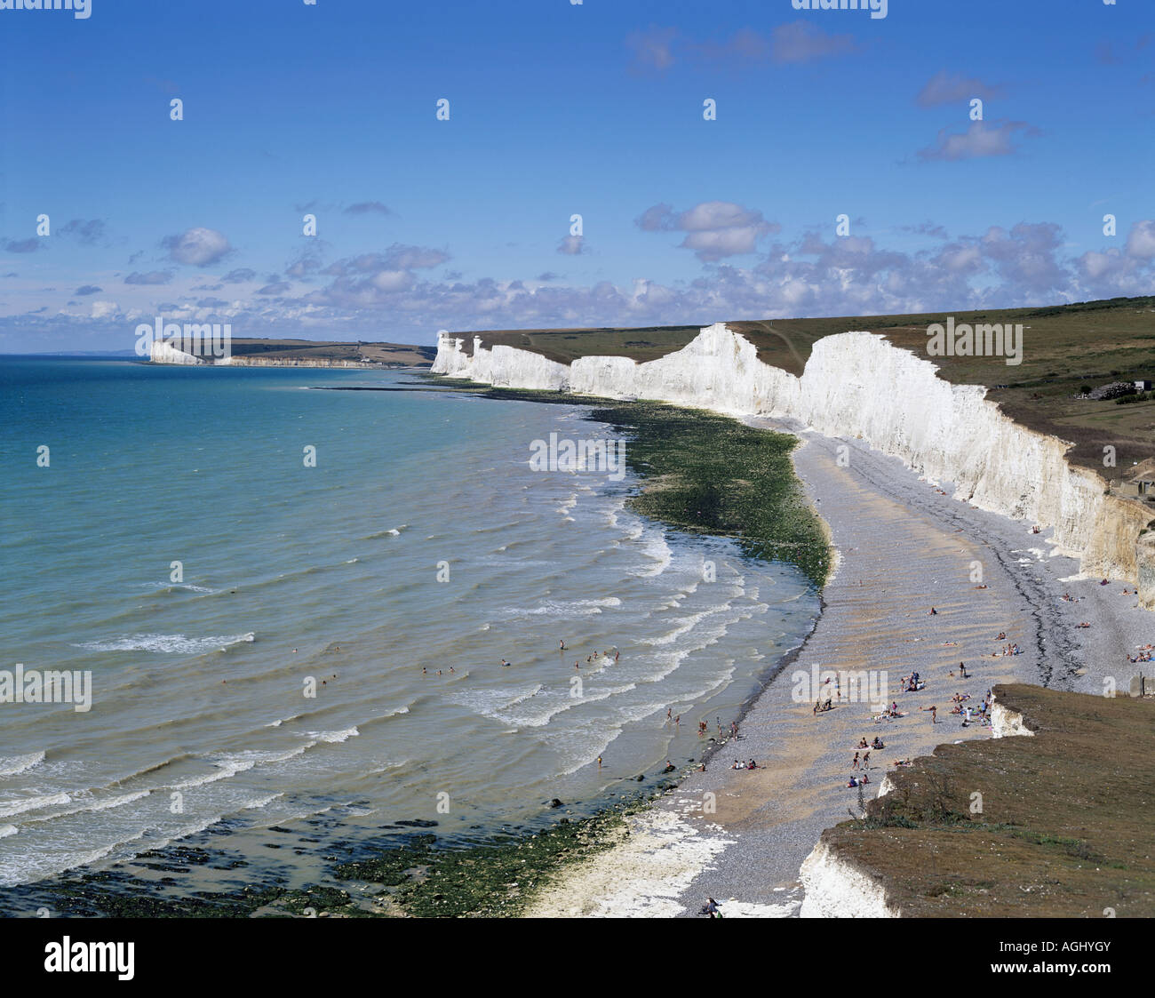 Seven Sisters coastline seen from Birling Gap, East Sussex, England, UK, GB - Stock Image