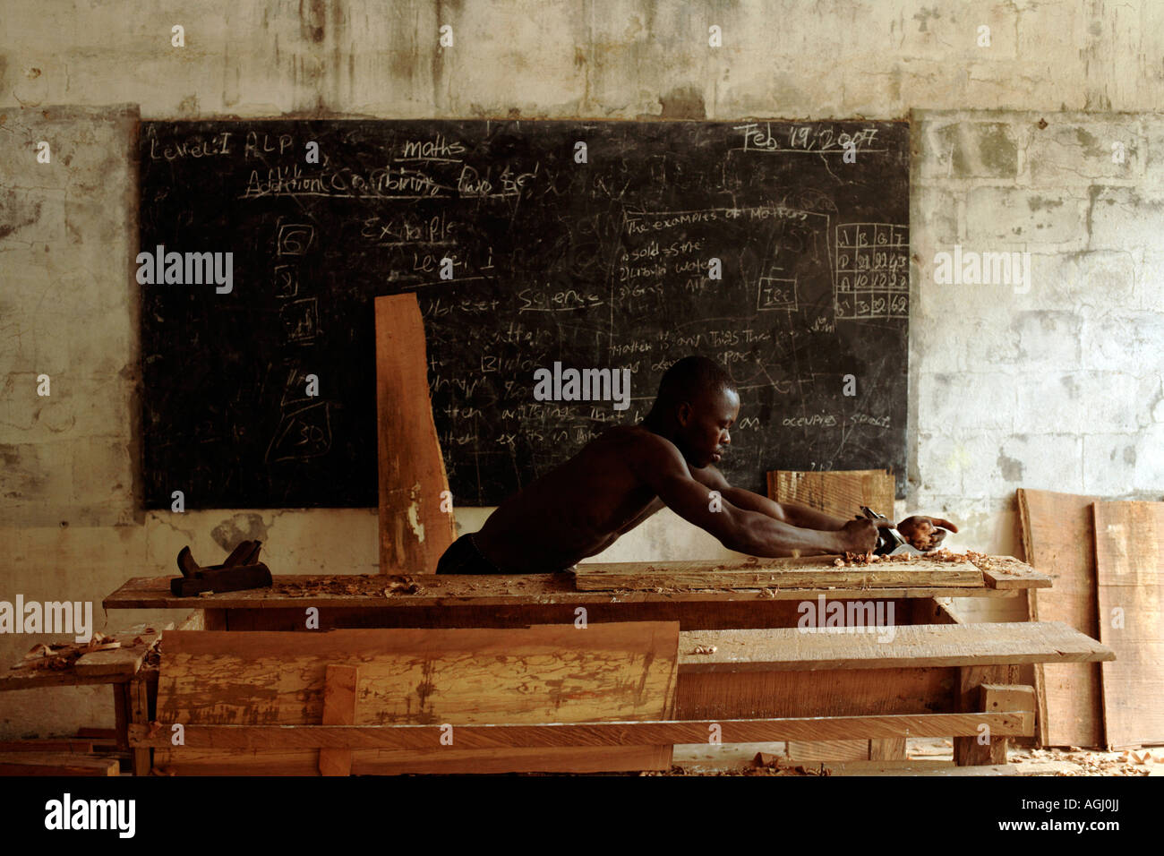 The rebuilding after the war of Zeah Town school which is supported by 'Save the Children' Zeah Town Liberia - Stock Image