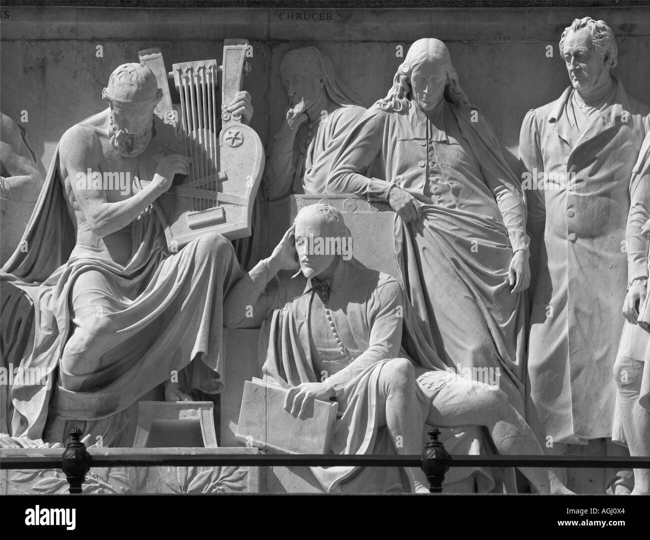 William Shakespeare sits next to Homer on the frieze of the Albert Memorial London Stock Photo