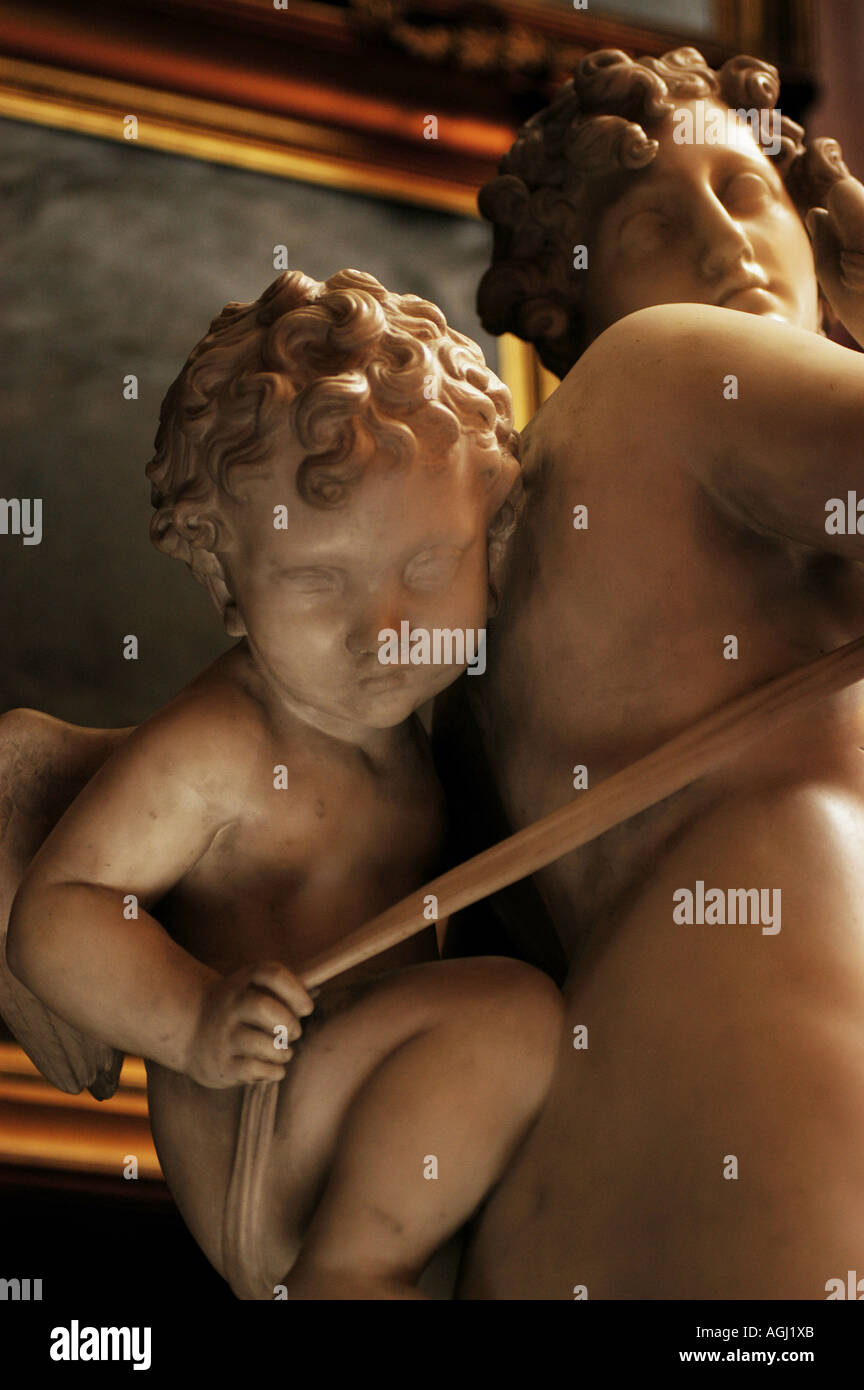 Close view of the sculpture Nymph and Cupid by Sir Richard Westmacott RA 1775 1856 in the North Gallery at Petworth House - Stock Image