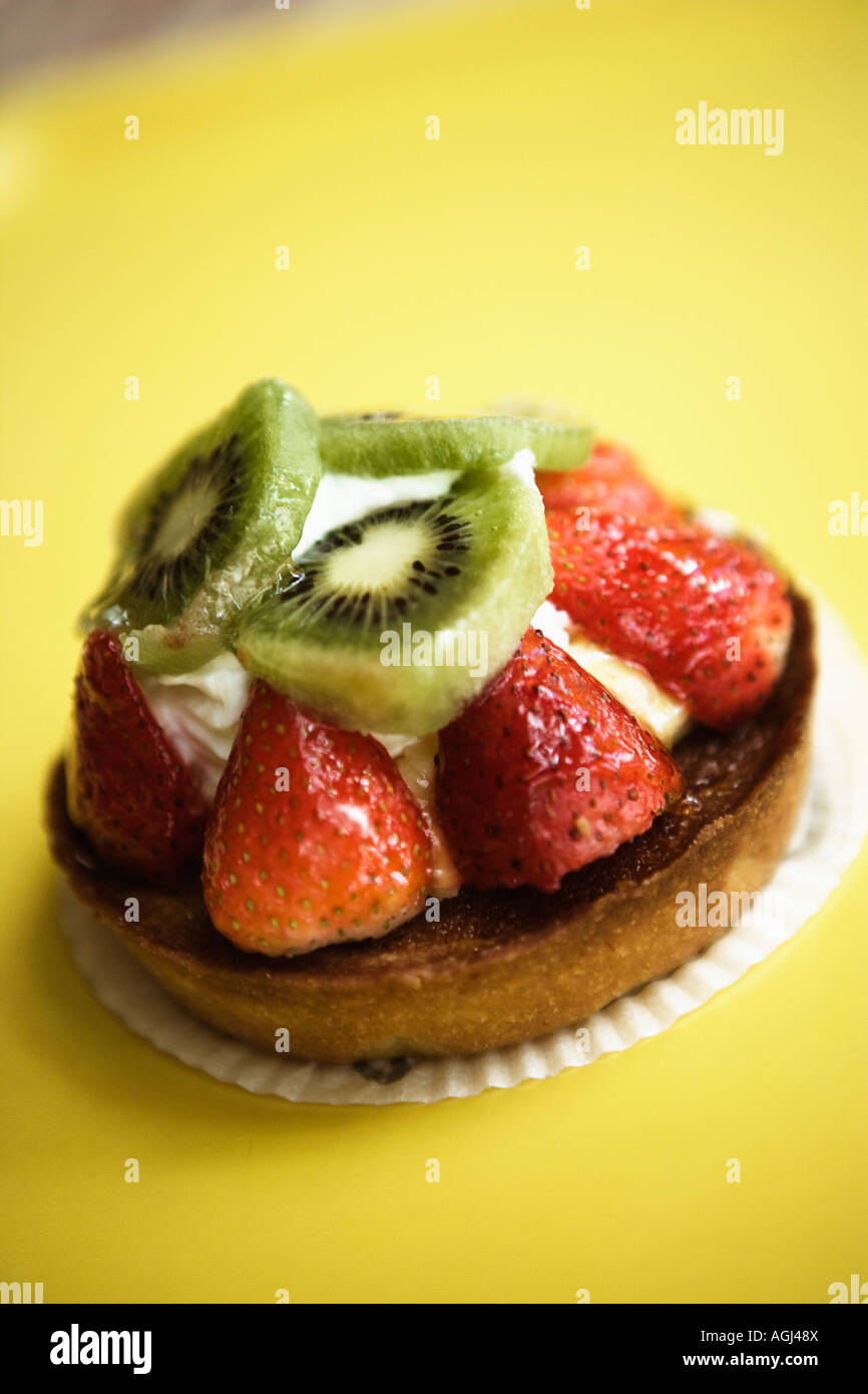 Close-up of a strawberry tart on a serving tray - Stock Image