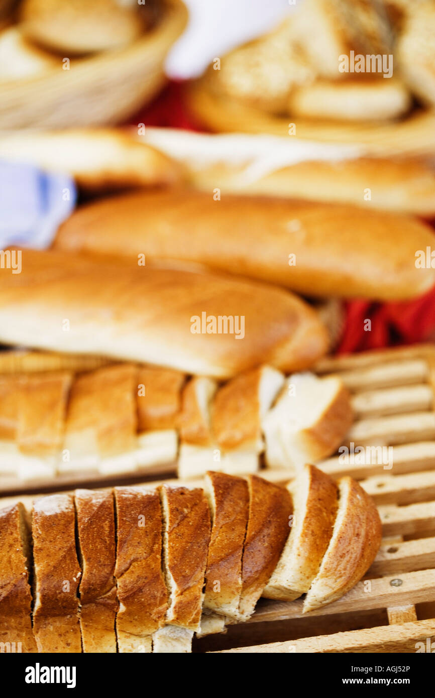 Close-up of slices of bread - Stock Image