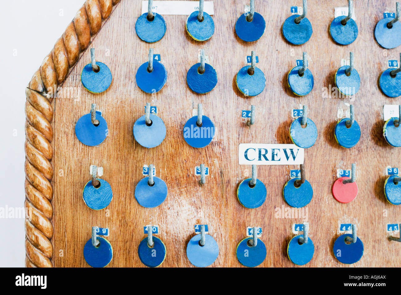 Close-up of tokens hanging on a pegboard - Stock Image