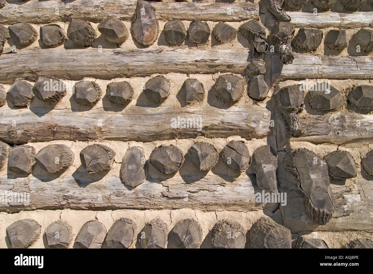 germany brandenburg spreeforest detail view of the wall of the slawenburg raddusch - Stock Image