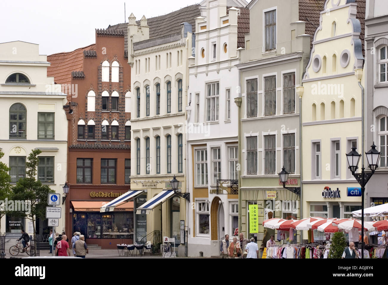 germany mecklenburg vorpommern framework houses at the marketplace in the old town of wismar - Stock Image