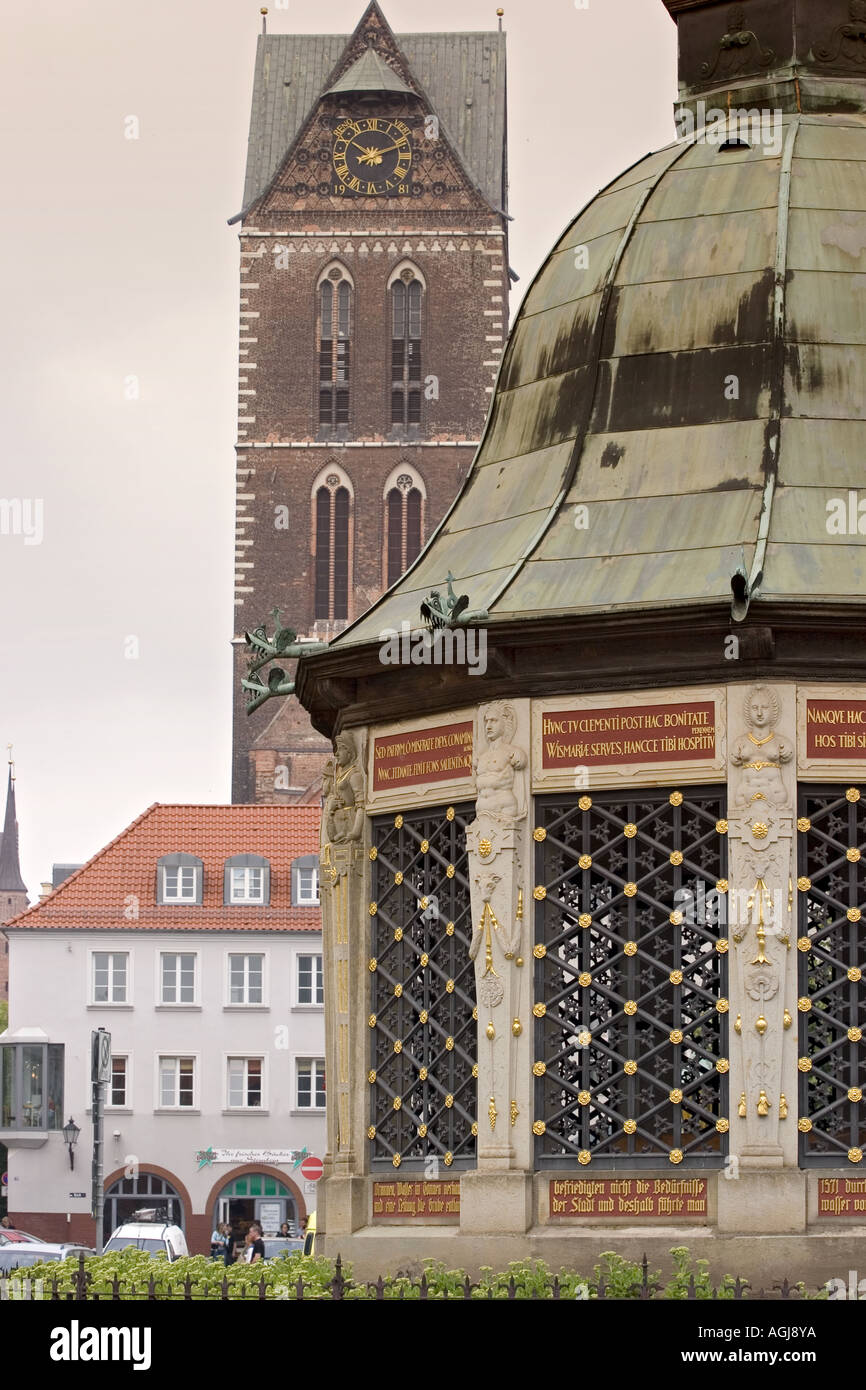 germany mecklenburg vorpommern marketplace with marien churchtower in the old town of wismar - Stock Image