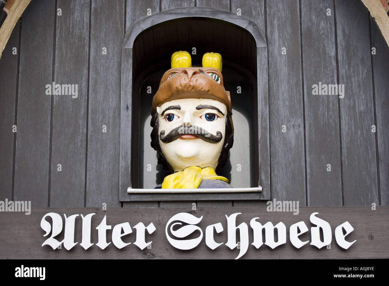 germany mecklenburg vorpommern facade of the restaurant alter schwede at the marketplace in the old town of wismar - Stock Image