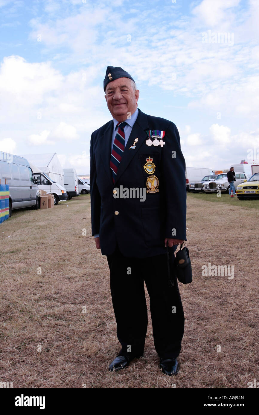 Ex RAF Serviceman wearing service medals - Stock Image