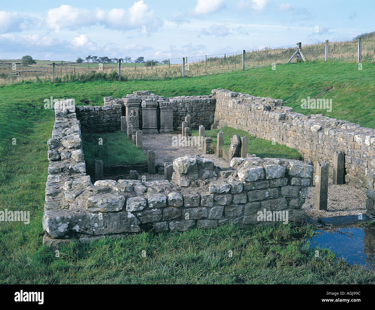 Temple of Mithras near Walwick Northumberland - Stock Image