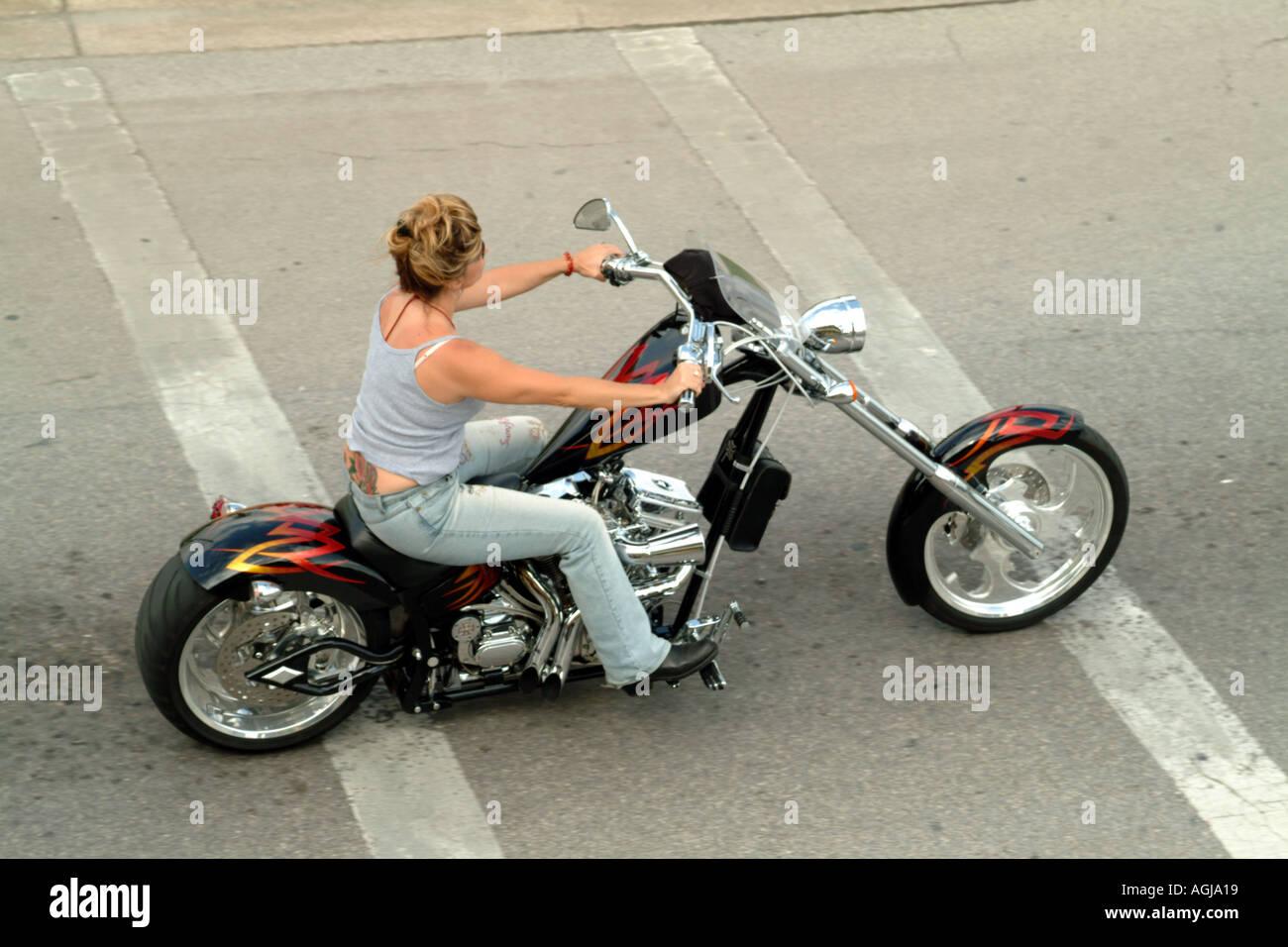 Woman Biker on customised stretched Pan Head Harley Davidson motor ...