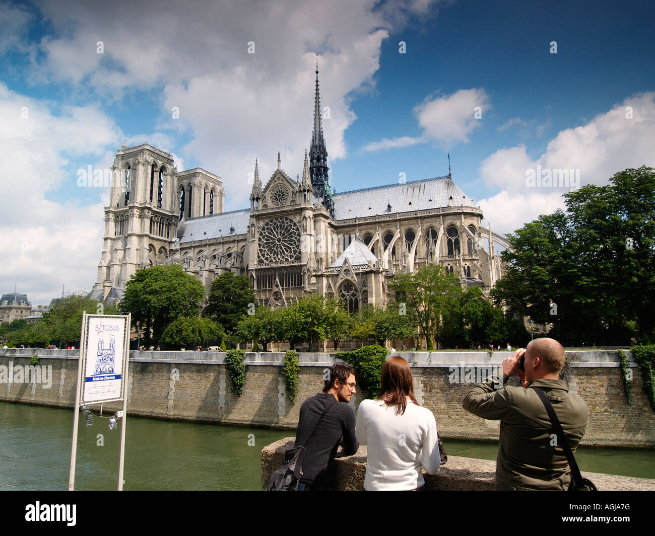 Tourists at the Notre Dame cathedral in Paris France Stock Photo